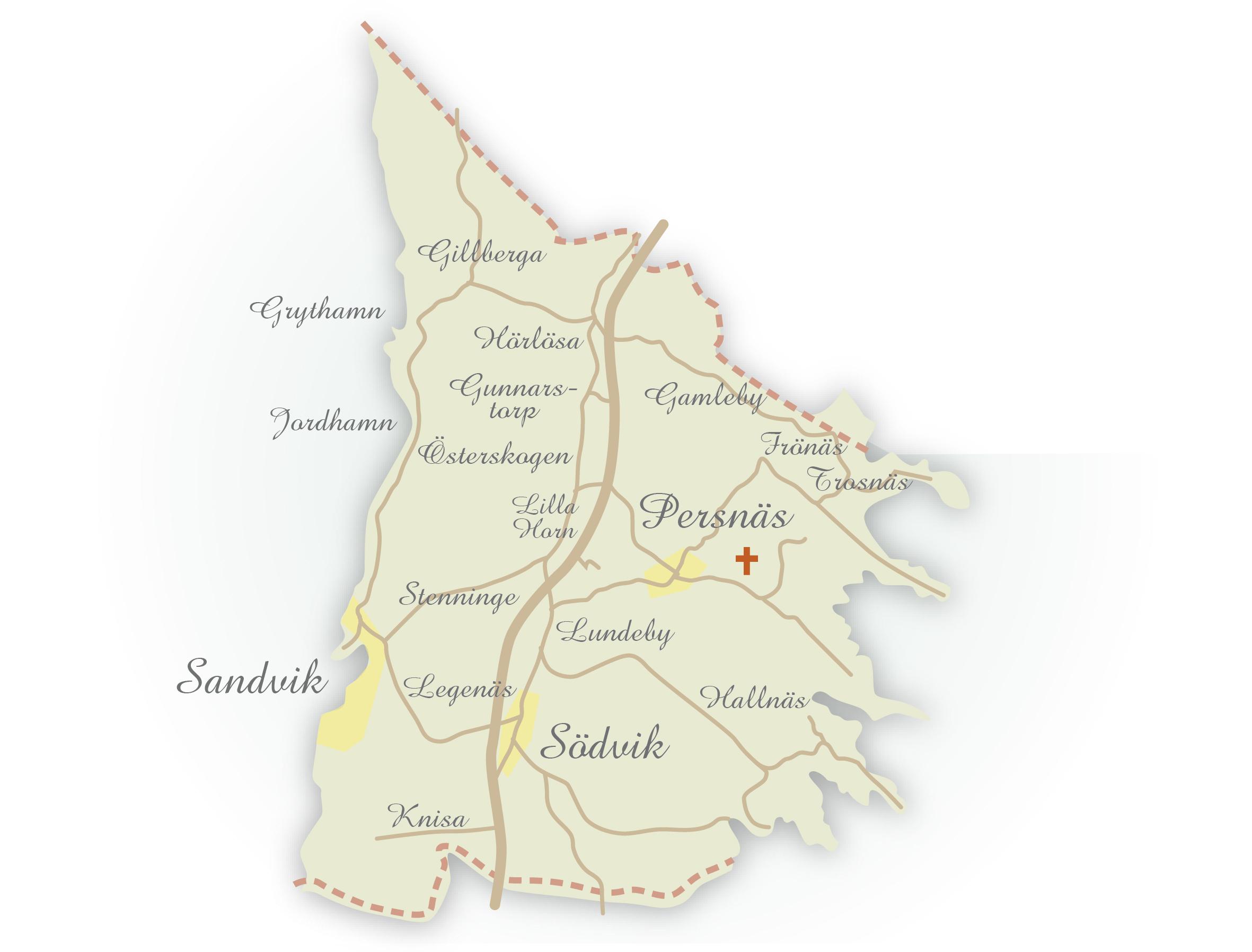 Karta över alla byar i Persnäs socken, norra Öland